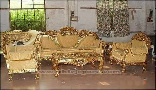 sofa set UJP 05 11 Kursi Tamu Ukir Finishing Emas